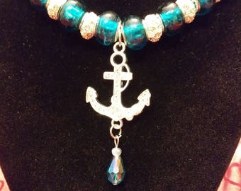 Rhinestone Anchor with Teardrop, Teal Murano Beads and Gorgeous, Jeweled, Crystal Beads, Necklace