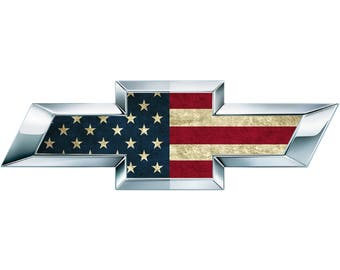 2 American Flag Vinyl Sheets for Chevy Emblem Bowtie Silverado Tahoe Overlay
