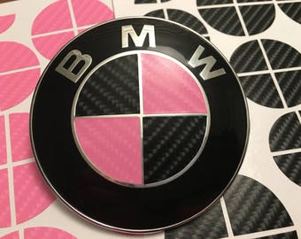Pink and Black Carbon Fiber Vinyl Overlay Decal for ALL BMW Emblems