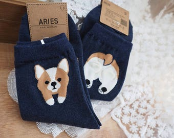 Cute corgi socks navy blue