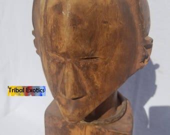 TRIBAL EXOTICS : RARE Premium Authentic fine tribal fine African Art - Baluba Warua Luba Shankadi Wood Figure Sculpture Statue Mask