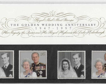 Vintage postage stamps, 1997, The Golden Wedding Anniversary, stamps presentation pack, Royal Mail, mint stamps, The Queen, Prince Phillip