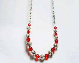 Beautiful Czech Crystal and Fillagree Necklace