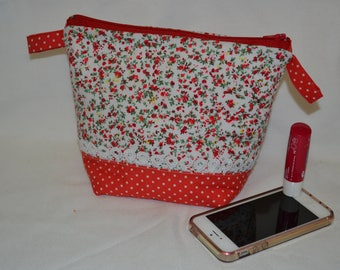 Clutch bag cotton flower and polka dots