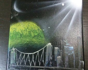 Yellow-Green Planet and Buildings Spray Paint Art