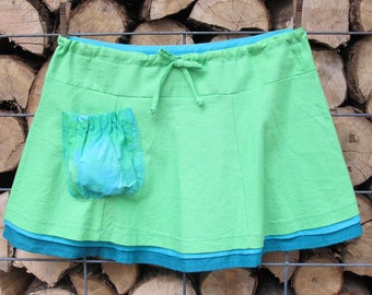 Green Linen Pocket Skirt Size 10-12