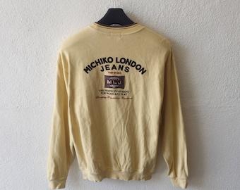 Vintage Michiko London Jeans Big Logo Embroidery Sweatshirt Michiko Crewneck Pullover Jumper Yellow Collour Size L