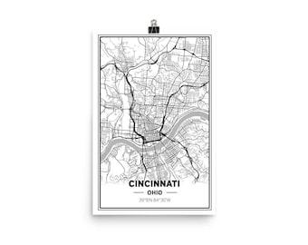 Cincinnati, Ohio Modern Map Wall Art