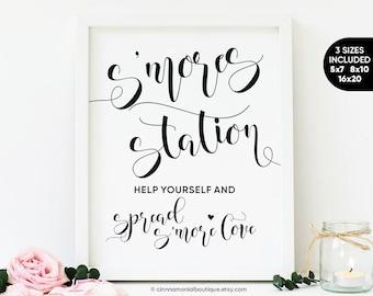 S'mores Station Sign, S'more Favor Sign Wedding S'more Sign, Smores Bar Sign Printable Smores Sign, Wedding Smore Love Sign Printable Sign