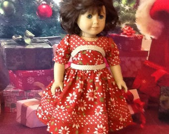 """Doll Dress, 18""""/AG, Xmas fabric in Red/White Flowers, Beige Braided Trim"""