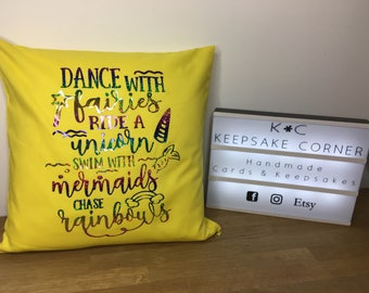 Dance with fairies,ride a unicorn cushion cover, personalised