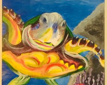 SEA TURTLE - original acrylic on canvas