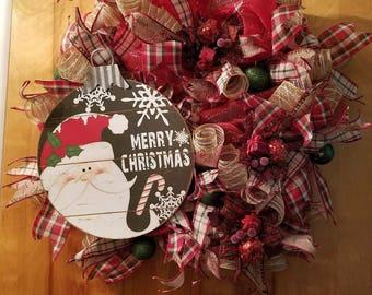 Christmas deco mesh Santa red
