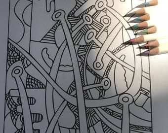 Abstract Coloring Page, Adult Coloring, Art Print for Colorists, Digital Coloring Page Download