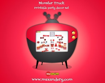 Monster Truck - Personalized Printable Birthday Decorations -