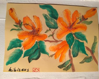 Hibiscus Flowers in watercolor painting