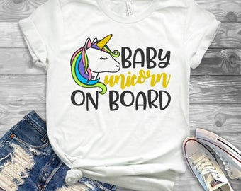 Baby unicorn On Board//Womens Tee T Shirt//Pregnancy//Mother to Be