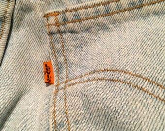 Vintage Levi Jeans 550 Orange Label Size 9 Light Blue Denim Relaxed Fit Tapered Leg Jean