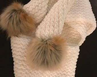 Ivory Scarf with Faux Fur Pom Poms