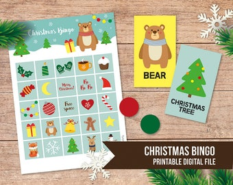 Winter bingo game, Christmas bingo, Christmas game, Christmas activity, Instant download,Christmas party game,Bingo game, Printable bingo