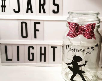 Personalised little dancer jar of light with bow and fairylights
