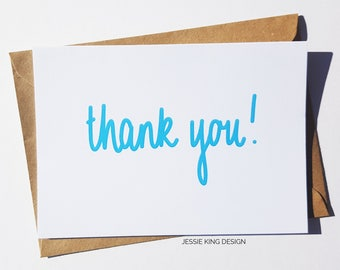 Thank You Card - Thank You - Blue - Thank You Cards - Greeting Card