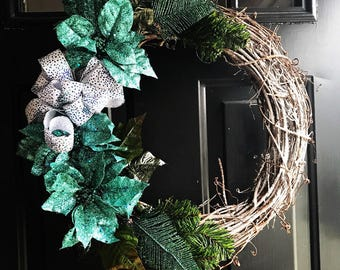 Teal holiday wreath 2 options in stock!
