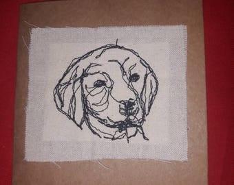 Labrador embroidered card