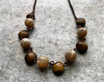 Mother of Pearl, Tigers Eye, Copper Necklace