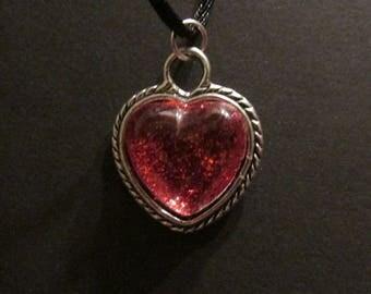 Glittery Ruby colored heart pendant