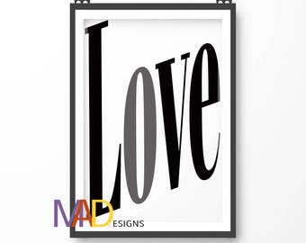 Love Poster Print, Positive Wall Art, Family Home Decor