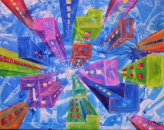 Original abstract acrylic painting, one point perspective of the city.