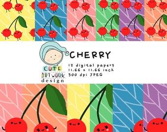 Cherry Digital Paper. Cherry doodle, Cute Cherry, Cherry Couple