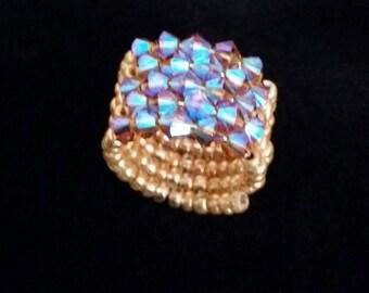 Swarovski Topaz Spiral Ring