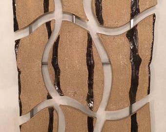 Black and Tan | Ceramic Wall Hanging | Ceramic Wall Art | Office Art | Office Wall Art | Office Sculpture | Sculpture Art