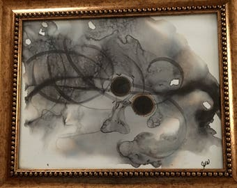 Abstract painting with ink and alcohol