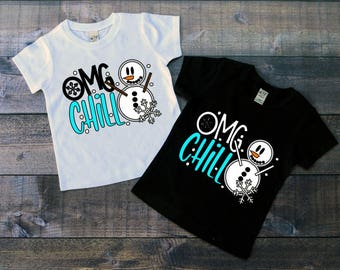 Children's Tee Shirt, OMG Chill, Funny Tee, Snowman Shirt, Kid's Winter T-Shirt, Black or White Tee, Infants, Toddler, Youth, Boys, Girls
