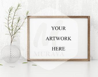 Wood Frame Mockup, Wood Landscape Frame, Styled Stock Photograpy, , PSD Mockup, Digital Item, Natural Lighting, Rustic Frame Mockup