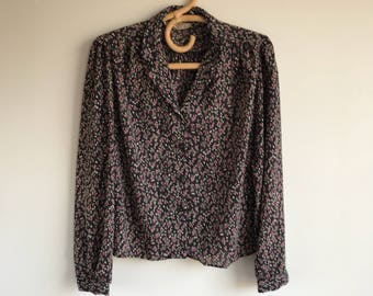 Vintage 90's Black Floral Blouse Button Up