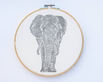 Elephant stamped on canvas