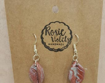 Copper and silver polymer clay drop earrings