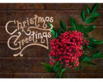 Christmas Greetings Gold Foil Flat Card