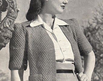 Ladies Short Sleeve Jacket, Knitting Pattern. Instant Download.