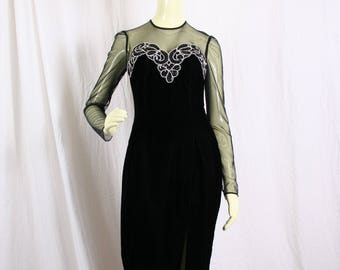 vintage Black VELVET PROM DRESS evening gown, Zum Zum, formal dress, pageant gown, sequined dress, vamp