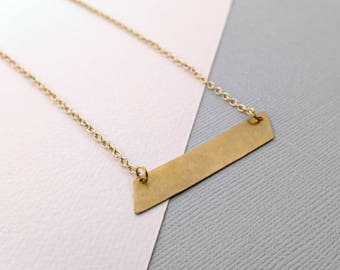Brushed Brass Hammered Metal Necklace - boho luxe geometric parallelogram design