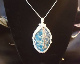 Wire wrapped large blue pendant