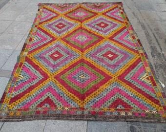 """Handmade kilim rug185x176cm 72""""x70"""",Turkish kilim rug,Anatolian kilim rug,vintage kilim rug,tribal kilim rug, Handmade kilim rug"""