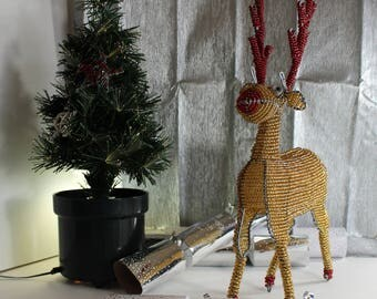 Whimsical Maginificent Gold Beaded Reindeer with Red trim