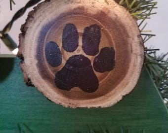 Paw Print Ornament on Wood slice