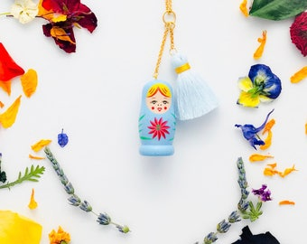 Matryoshka Charm/Tassel Necklace in Baby Blue